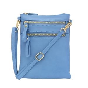 Double Zipper Crossbody Bag 32706 - Dusk Blue