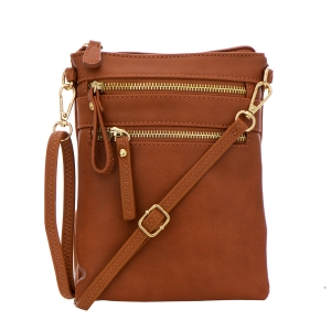 Double Zipper Crossbody Bag 32706 - Tan