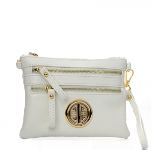 Faux Leather Double Zipper Crossbody Bag 32712 - White