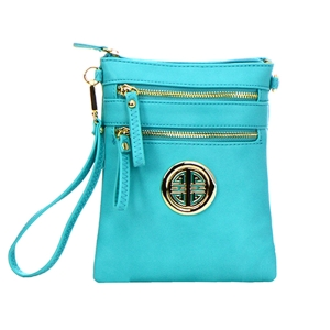 Faux Leather Gold Metal Accent Double Zipper Crossbody Bag 32723 - Lagoon
