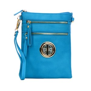 Faux Leather Gold Metal Accent Double Zipper Crossbody Bag 32723 - Light Blue