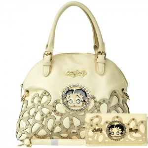 Original Betty Boop Gold Tone Accent Faux Diamond Stud Handbag with Matching Wallet - Beige