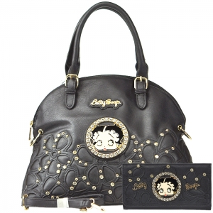 Original Betty Boop Gold Tone Accent Faux Diamond Stud Handbag with Matching Wallet - Black