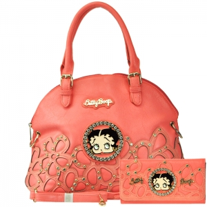 Original Betty Boop Gold Tone Accent Faux Diamond Stud Handbag with Matching Wallet - Coral