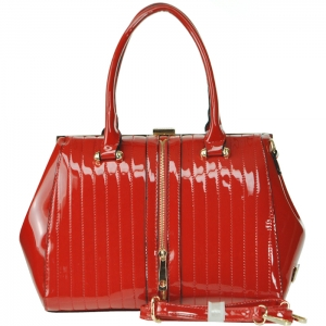 Patent Leather Gold Tone Trim Accent Faux Zipper Handbag with Strap - Red