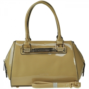 Patent Leather Gold Tone Trim Accent Handbag with Strap - Beige
