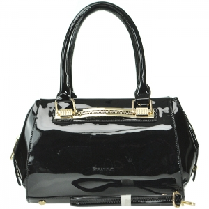 Patent Leather Gold Tone Trim Accent Handbag with Strap - Black