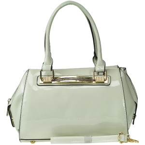 Patent Leather Gold Tone Trim Accent Handbag with Strap - Creme