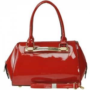 Patent Leather Gold Tone Trim Accent Handbag with Strap - Red