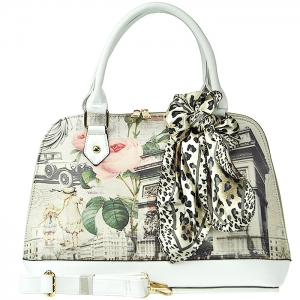 Alma Style Print Handbag with Scarf Accent - 165027 - White