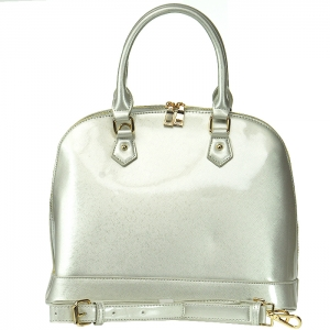 Patent Leather Alma Style Handbag with Strap - L0055 - Silver