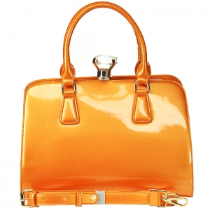 Patent Leather Alma Style Handbag Diamond Top Accent with Strap - L0056 - Orange