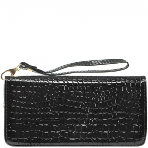 Animal Texture Wallet with Wristlet - D0001C - Black