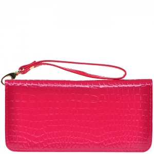Animal Texture Wallet with Wristlet - D0001C - Pink
