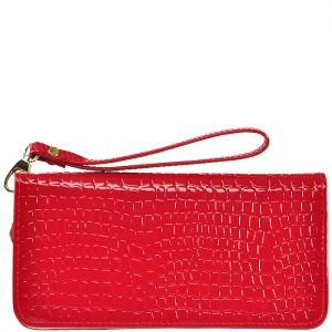 Animal Texture Wallet with Wristlet - D0001C - Red