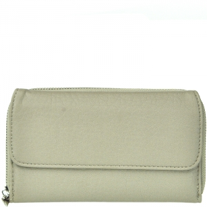 Half-fold Two-compartment Zippered Wallet - 8002LW - Grey