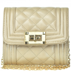 Rocker Style Square Shaped Clutch with Strap - BGT-8946 - Taupe