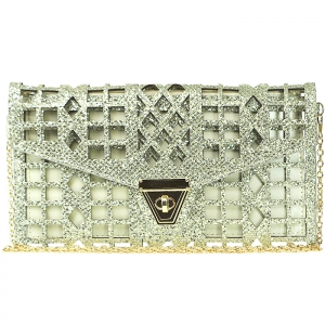 Elegant Glitter Laser Perforated Rectangular Shaped Clutch with Strap - CLS-46017 - Silver