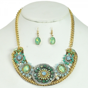 Beaded Flower Style Necklace with Matching Earrings - Mint