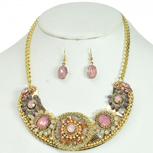 Beaded Flower Style Necklace with Matching Earrings - Pink