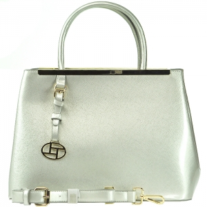 Patent Leather Gold Tone Trim Handbag with Strap - L0086 - Silver