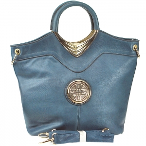 Gold Tone Frame Circular Accent Handbag with Strap - X-0002 - Blue