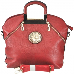 Gold Tone Frame Circular Accent Double Front Zippered Handbag with Strap - D7018-2 - Red