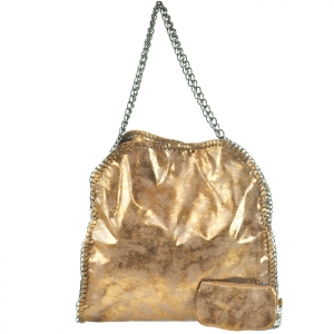 Metallic Oversized One Main Compartment Handbag with Coin Purse - KT554 - Bronze