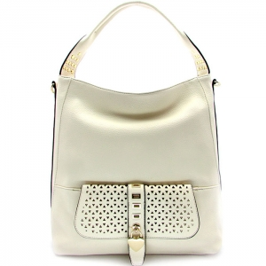 Laser Cut Perforated Designed Handbag with Heart Shaped Accent - RM1988 - Beige