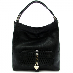 Laser Cut Perforated Designed Handbag with Heart Shaped Accent - RM1988 - Black