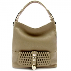 Laser Cut Perforated Designed Handbag with Heart Shaped Accent - RM1988 - Khaki