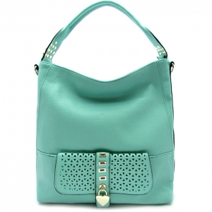 Laser Cut Perforated Designed Handbag with Heart Shaped Accent - RM1988 - Mint