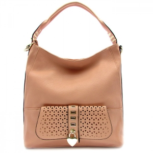 Laser Cut Perforated Designed Handbag with Heart Shaped Accent - RM1988 - Pink