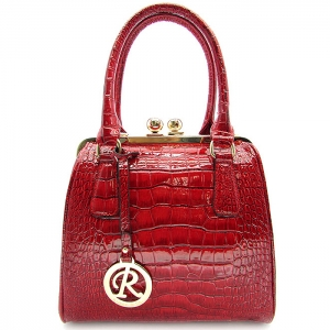 Crocodile Pattern Faux Leather Tote Handbag - JL1732 - Red