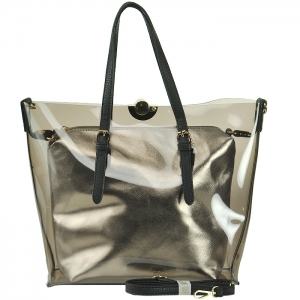 Clear Handbag with Metallic Purse Inside with Strap - CB1765 - Black