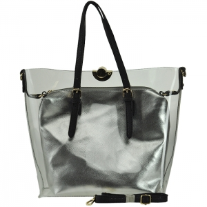 Clear Handbag with Metallic Purse Inside with Strap - CB1765 - White