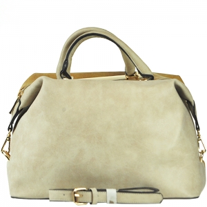 Two Tone Gold Frame Accent Handbag with Strap - F0089 - Beige