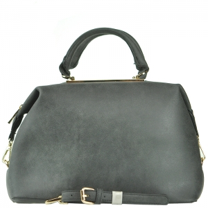 Two Tone Gold Frame Accent Handbag with Strap - F0089 - Black