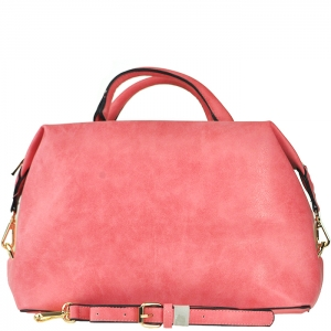 Two Tone Gold Frame Accent Handbag with Strap - F0089 - Pink