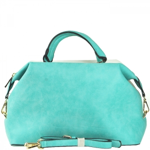 Two Tone Gold Frame Accent Handbag with Strap - F0089 - Teal
