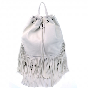 Leatherette Backpack with Shingles Accent - White