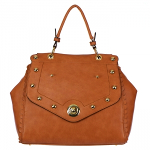 Moon Chris Faux Leather Studded Handbag 33223 - Brown