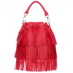 Fringe Faux Leather Small Hobo Pouch Handbag 33250 - Coral