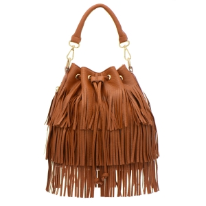 Urban Expressions Fringe Vegan Leather Small Hobo Pouch Handbag 33250 - Tan