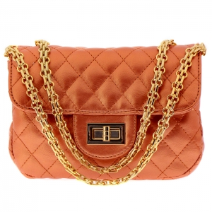 Designer Inspired Metallic Diamond Quilted Classic Flap Small Crossbody Bag 33280 - Gold