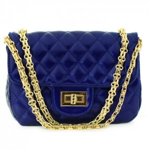 Designer Inspired Metallic Diamond Quilted Classic Flap Small Crossbody Bag 33280 - Navy
