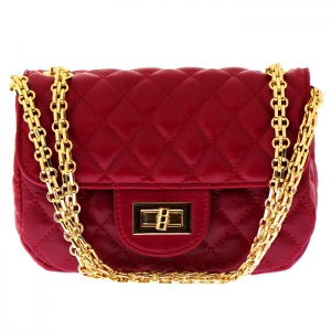 Designer Inspired Metallic Diamond Quilted Classic Flap Small Crossbody Bag 33280 - Red