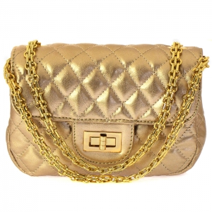 Designer Inspired Metallic Diamond Quilted Classic Flap Small Crossbody Bag 33280 - Silver