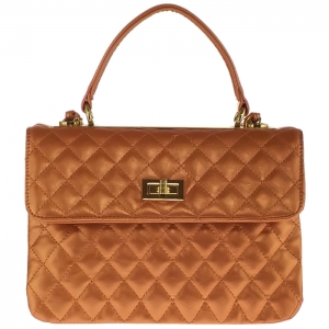 Designer Inspired Metallic Diamond Quilted Triple Compartment Shoulder Bag 33285 - Gold