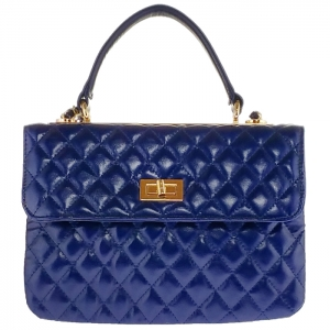 Designer Inspired Metallic Diamond Quilted Triple Compartment Shoulder Bag 33285 - Navy
